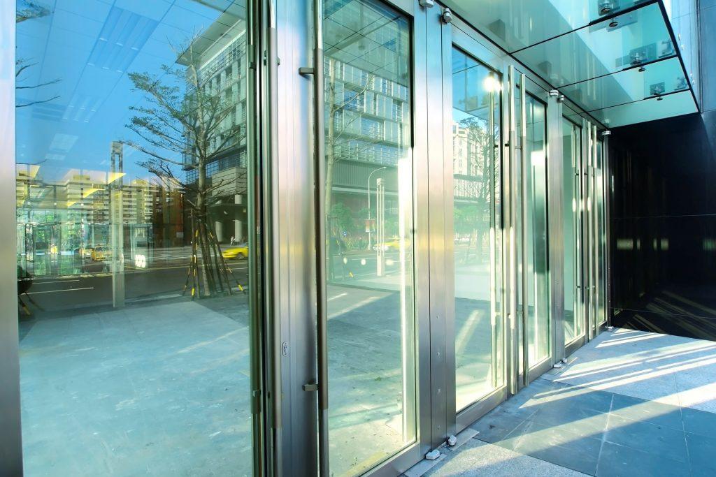 Transparent door of modern building